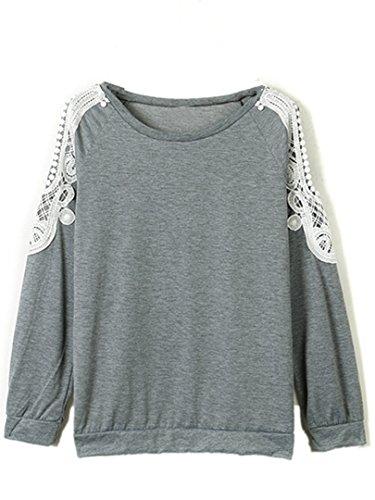 Persun Womens Shoulder Crochet T shirt