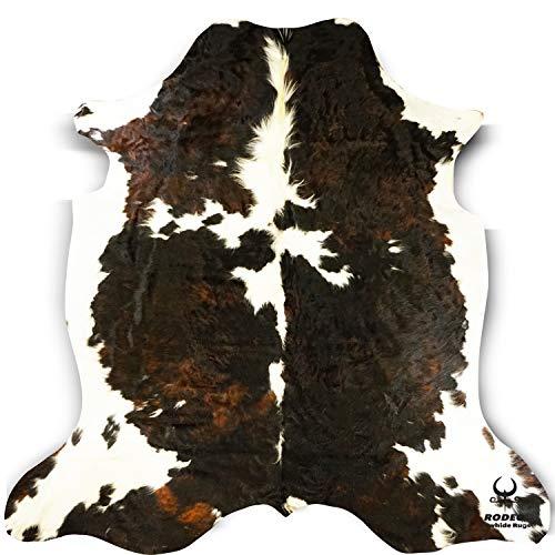 RODEO Cowhide Rug Dark Brindle Size 6x8 Feet -