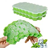 Ice Cube Trays with Lids,Bomstar 2 Pack Food Grade Silica Gel Flexible 74 Ice Trays with Spill-Resistant Removable Lid,BPA Free Ice Cube Molds for Whiskey Storage,Cocktail,Beverages