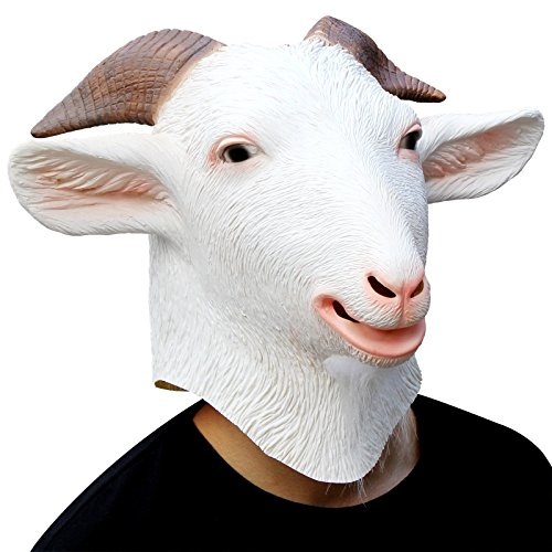 CreepyParty Deluxe Halloween Costume Party Latex Animal Head Mask Goat White ()