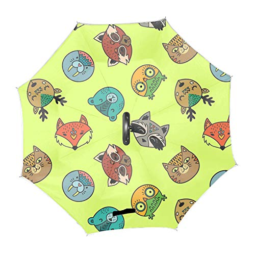 - Cute Pattern Of Cute Animal Portraits Inverted Umbrella – Double deck waterproof umbrella, C-Shape Handle & Self-Stand to Spare Hands, Inside-Out Fold to Keep Cars Dry