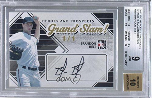 (Brandon Belt BGS GRADED 9 #1/1 (Baseball Card) 2011 In the Game Heroes and Prospects - Grand Slam! #GS-BB )