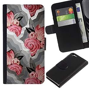 EuroTech - Apple Iphone 6 4.7 - Rose Waves White Pink Floral Pattern - Cuero PU Delgado caso Billetera cubierta Shell Armor Funda Case Cover Wallet Credit Card