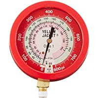 Yellow Jacket 49515 3-1/2 Liquid-Filled Gauge (degrees F) Red Pressure, 0-800 psi, R-22/410A