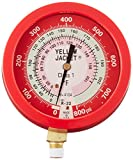 Yellow Jacket 49515 3-1/2'' Liquid-Filled Gauge (degrees F) Red Pressure, 0-800 psi, R-22/410A