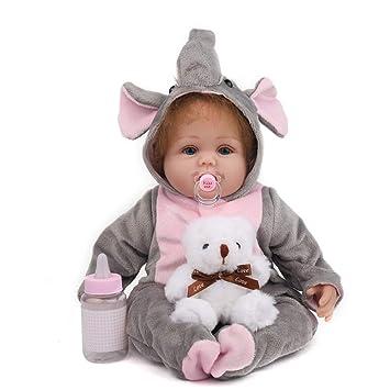 NACHEN Reborn Muñecas bebé Ojos Azules y Cabello castaño bebés ...