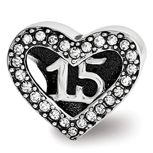(Sterling Silver with Swarovski Crystals Quinceanera Heart Bead)