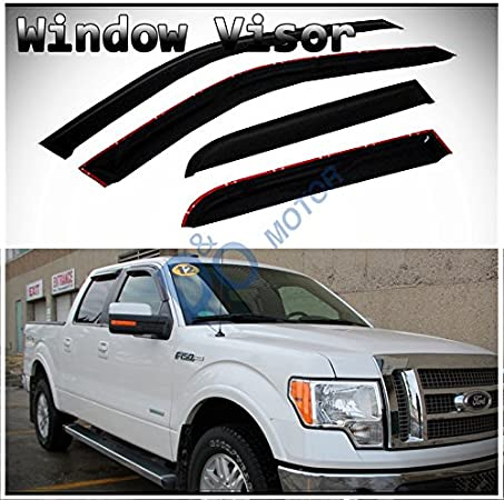 D/&O MOTOR 4pcs Front+Rear Smoke Sun//Rain Guard Outside Mount Tape-On Window Visors for 09-14 Ford F-150 SuperCrew//Crew Cab with 4 Full Size Doors