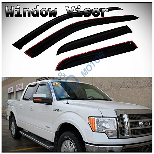 D&O MOTOR 4pcs Front+Rear Smoke Sun/Rain Guard Outside Mount Tape-On Vent Shade Window Visors For 09-14 Ford F-150 SuperCrew/Crew Cab With 4 Full Size (Front Vent Visor)