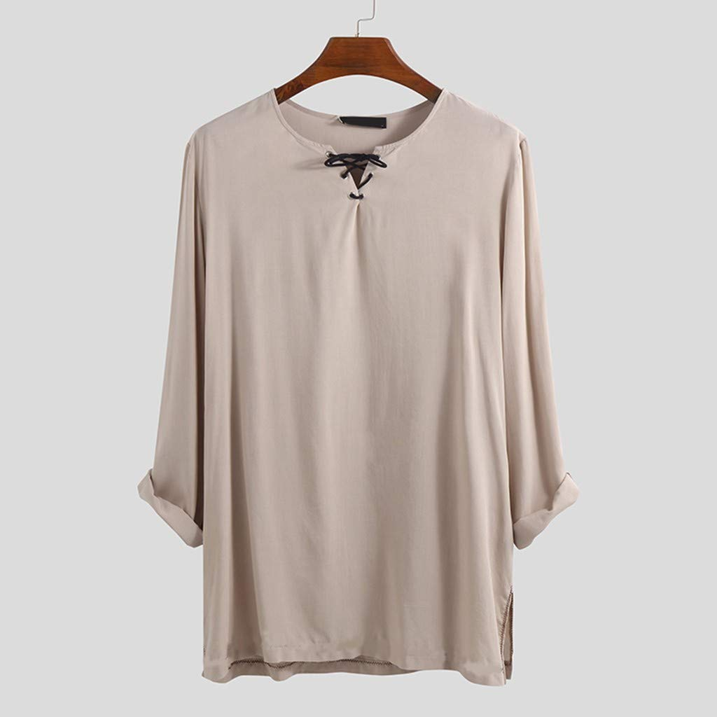 JOYFEEL Mens Retro Cotton Linen Long Sleeve Shirts Lace-up V Neck Solid Color Pullover Tee Tops