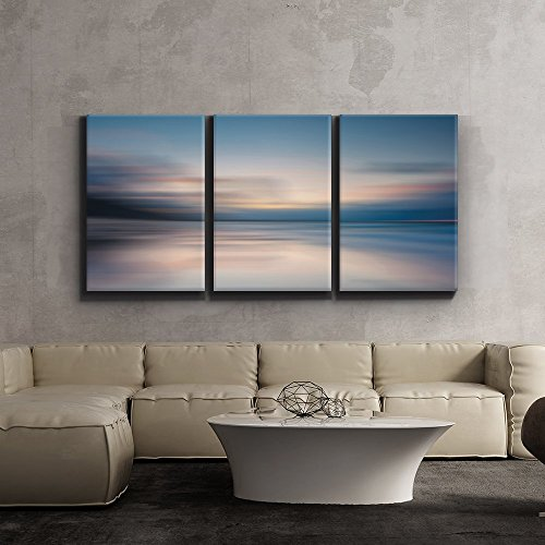 Wall26-Contemporary Art, Modern Wall Decor - Sunrise golden hour lake setting abstract - Giclee Artwork - Gallery Wrapped Wood Stretcher Bars -24''x36'' x 3 Panels by wall26