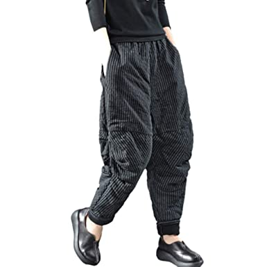 e5820bb2c9 ANJUNIE Women Vintage Retro Harem Pants Cotton Linen Baggy Pocket Long Trousers  Pants (Black,