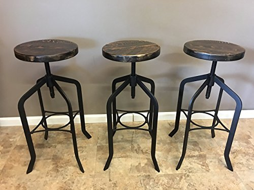 Set of 3| Reclaimed Wood Counter/Bar Height Stool with Swivel Seat | Industrial Urban Bar Stool