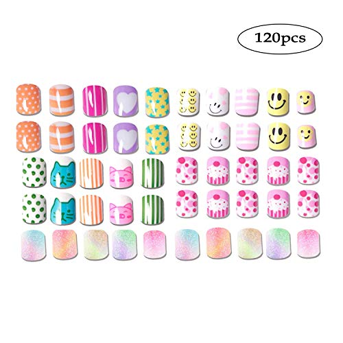 Easy Halloween Nail (SIUSIO 120 pcs 5 Pack Children Nails Press on Pre-glue Full Cover Glitter Gradient Color Rainbow Short False Nail Kits Great Christmas Gift for Kids Little)