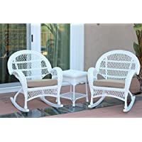 Jeco W00209_2-RCES006 3 Piece Santa Maria Rocker Wicker Chair Set with Tan Cushions, White