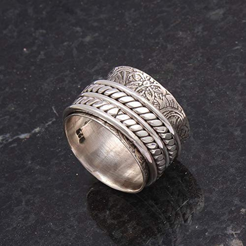 Meditation Spinning Ring Sterling Silver Gemstone Ring Fine Jewelry ANY SIZE