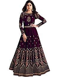 VintFlea Women's Indian Bollywood Designer Embroidered Taffeta Silk Semi Stitched Anarkali Gown (Free Size_Purple)