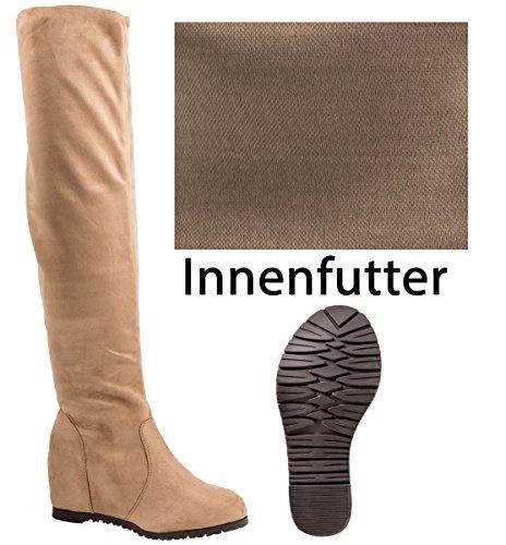 Elara Damen Keilabsatz Stiefel | Overknee Stiefel | Hidden Wedges Khaki New York