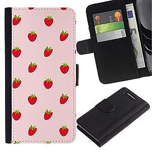 Billetera de Cuero Caso Titular de la tarjeta Carcasa Funda para Sony Xperia Z1 Compact D5503 / Strawberries Red Berries Wallpaper Fresh Food / STRONG