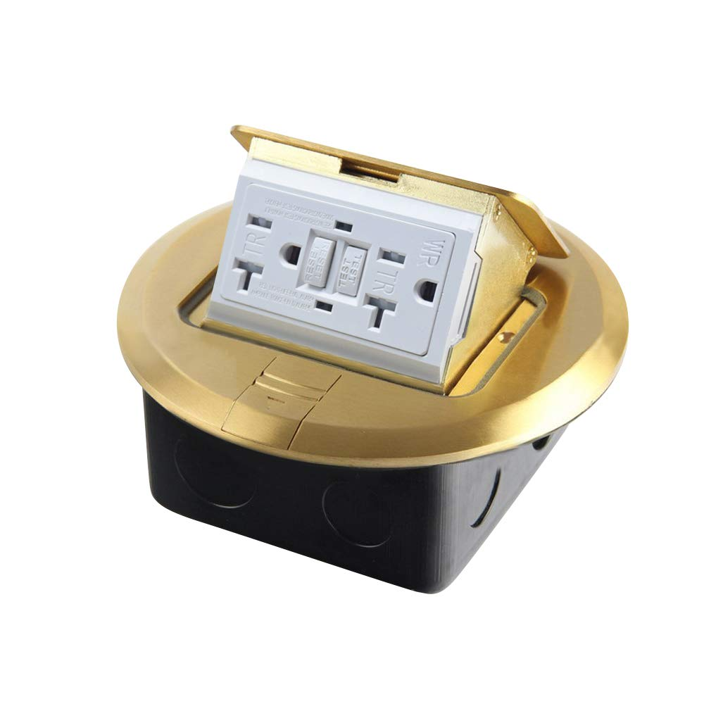 PetSply Pop-up Electrical Floor Outlet Cover Box 20 Amp 125V with GFCI Stainless Steel Cast-iron Junction Boxes Brass Covers Round