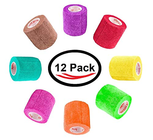 2 inch Vet Wrap Tape Bulk (12 Pack) FDA Approved, Vetwrap Self Adhesive Adhering Cohesive Bandage Vet Rap for Dog Cat Horse Pet Flex Roll, Assorted, Paw Prints, Patterns, Camo Camouflage Colors by Prairie Horse Supply (Image #2)
