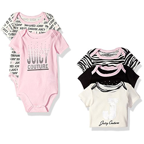 Juicy Couture Baby Girls' 5 Pack Bodysuit, Black/Pink, 0-...