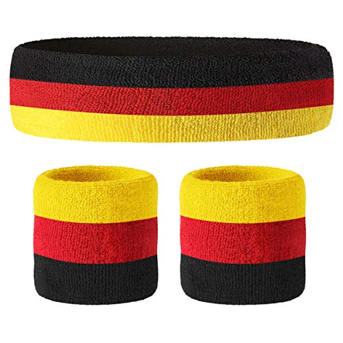 Hoter Thick Solid Color Sweatband Set (1 Headband + 2 Wristbands) ()
