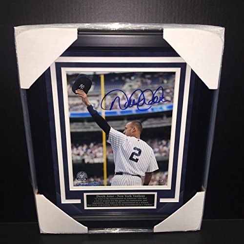 Derek Jeter Signed Photograph - 8x10 Coa Framed Wave - Steiner Sports Certified - Autographed MLB Photos by Sports...