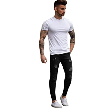 Hombres Pantalones, Manadlian Hombres Pantalones de mezclilla Elástico Ripeado Flaco Biker Jeans Destruido Grabado…