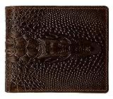 ABC STORY Mens Retro Crazy Horse Leather Slim Bifold Crocodile Short Wallet Purse Money Clip For Women Brown
