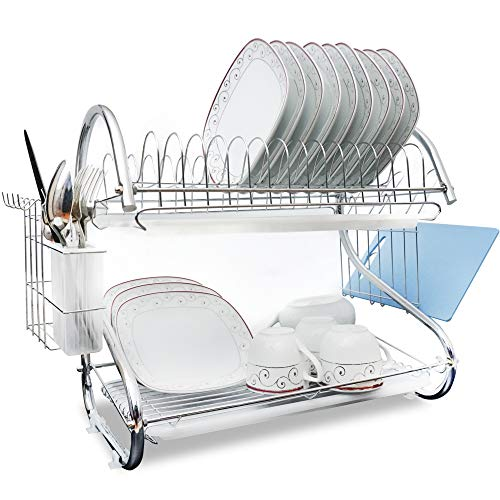 (Brankeys Dish Drying Rack - 2 Tier Metal Drying Rack With Utensil Holder, Kitchen Dish Drainer and Cutting Board Holder for Kitchen Counter Top, Stylish Drying Rack for Dishes)