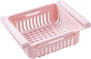 BYBYCD Fridge Space Saver Drawers,2PCs Adjustable and Stretchable Fridge Organizer Fresh Spacer Layer Storage Rack Drawer Basket Refrigerator Pull-Out Drawers