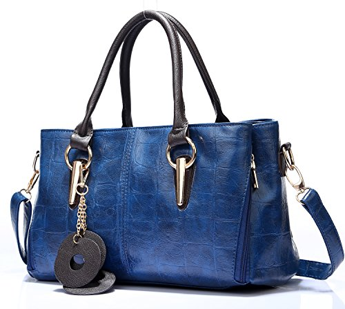 Pattern Handbag Crocodile Tote (Mn&Sue Fashion Women Stone Pattern Pu Leather Shoulder Tote Cross Body Handbag Hobo Purse (Dark Blue))