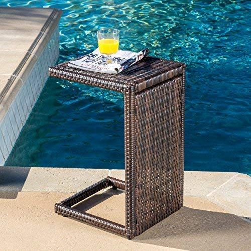 Distinctive Accents Furniture - Christopher Knight Home 297003 Forrest Outdoor Wicker Accent Table, Multicolor Brown