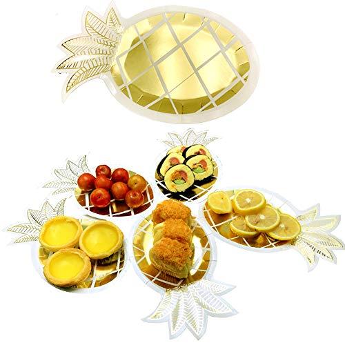 Pineapple Paper Plates - 24 PCS Gold Foil Pineapple Paper Plates Disposable Plates Tableware Set for Luau Hawaiian Birthday Party Supplies -