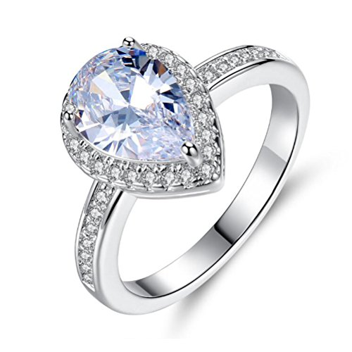 TEMEGO Pear Teardrop Engagement Ring for Women,Halo CZ Solitaire Channel Half Eternity Ring,Size (Solitaire Teardrop Ring)