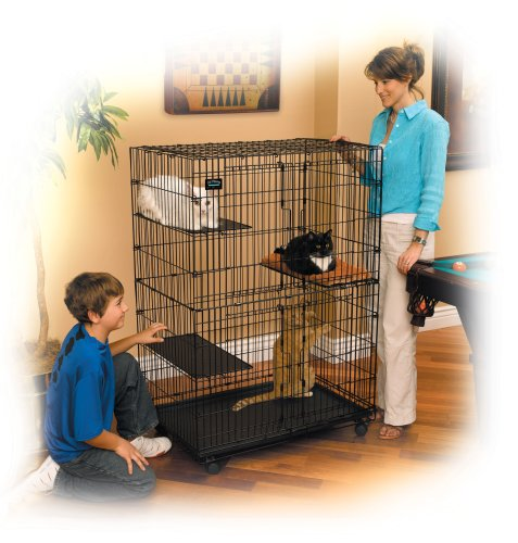 Review MidWest Cat Playpen / Cat Cage Includes 3 Adjustable Resting Platforms, Removable Leak-Proof Pan, Easy 2-Door Top / Bottom Access & 4-locking Wheel Casters