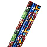 Hallmark Avengers Wrapping Paper Bundle with Cut Lines on Reverse, Solids & Patterns—Birthday, Holiday, Fathers Day (Pack of 3, 105 sq. ft. TTL.)