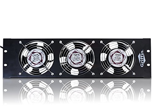 Rackmount Cooling Fan by Griffin - 3U Ultra-Quiet Triple Exhaust Fans, Keep Studio Equipment Gear Cool, Rack Mount on Network IT Server & UL Approved, Temperature Control Panel for DJ PA AMP Cabinet