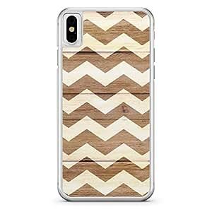 apple iPhone X Transparent Edge Holidays Chevron Zig Zag Wood Pattern White Brown - Multi Color
