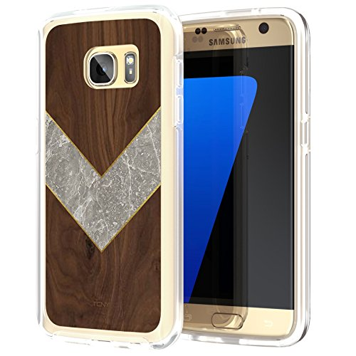 True Color Case Compatible with Samsung Galaxy S7 Case, Marble & Rosewood Effect Chevron Print on Clear Hybrid Cover Hard + Soft Slim Durable Protective Shockproof TPU Bumper