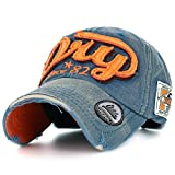 ililily Distressed Vintage Style Denim DRY Baseball Cap Pre-curved Bill and Embroidery on Front and Side with Adjustable Leather Strap Snapback Trucker Hat (ballcap-595-1),Navy,One Size