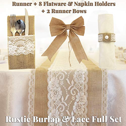 Full Set Rustic Table Runner with 8 Flatware Holders, 8 Napkin Holders and 2 Table Bows - Hessian Burlap Jute and Lace - 12