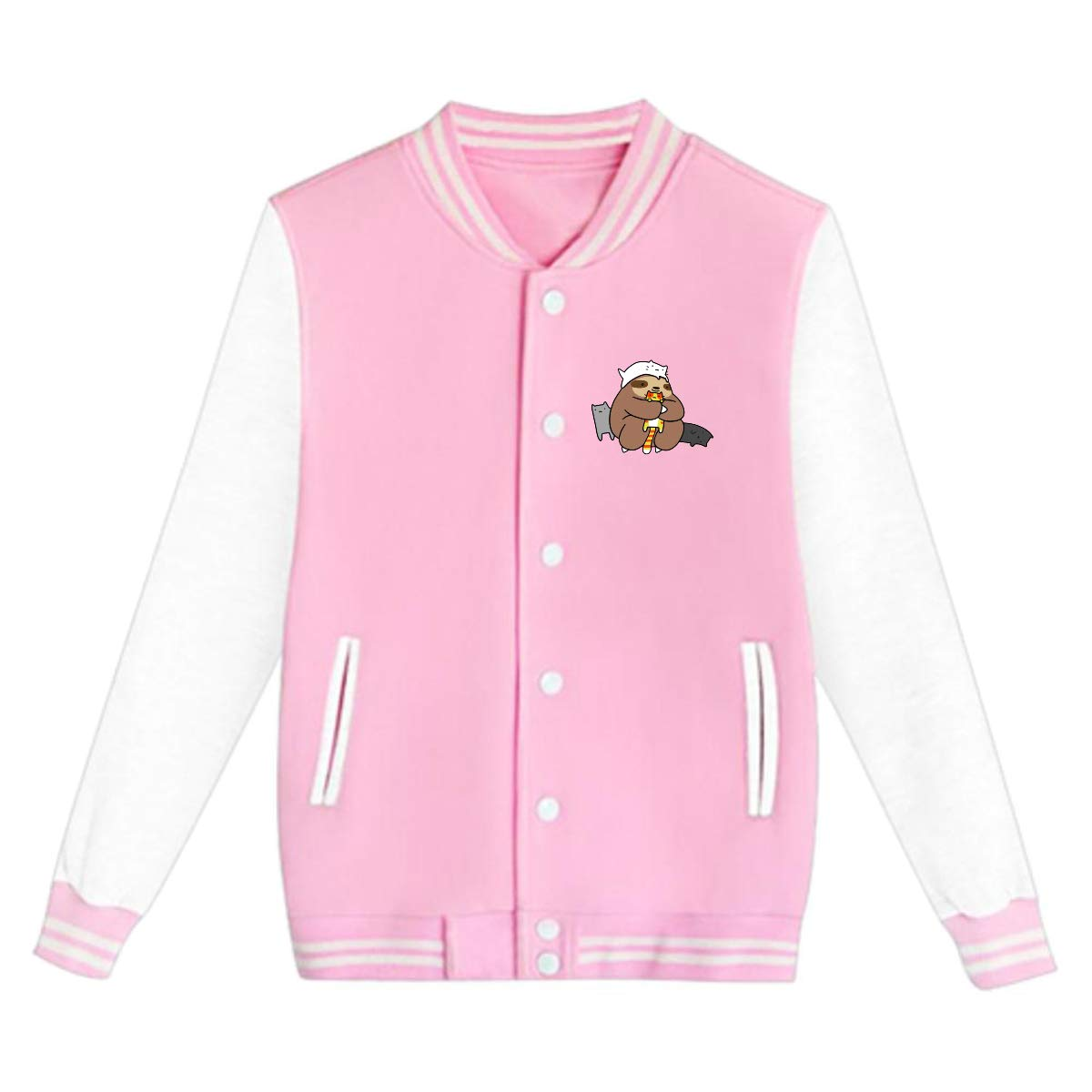 Tina TN Sloth Loves Cats Teens Boys Girl Varsity Baseball Jacket Long Sleeve Sport Baseball Uniform Jacket Coat Sweater Black