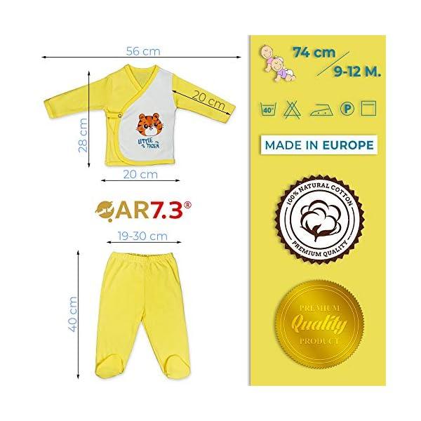 QAR7.3 Completo Vestiti Neonato 9-12 mesi - Set Regalo, Corredino da 5 pezzi: Body, Pigiama, Bavaglino e Cuffietta… 3