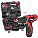 12V Cordless Lithium-Ion Drill/Driver Bit Impact Combo Set with 77pc Project Kit Box for Engineering Home (12V)