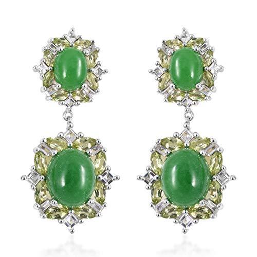 Dangle Drop Earrings 925 Sterling Silver Green Jade Peridot Gift Jewelry for Women