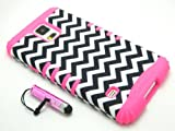 New 3-piece Impact Hybrid Combo Hard Case Cover For Samsung Galaxy S5 Colorful Design Soft Skin With Stylus Pen (Classic Chevron Pink)