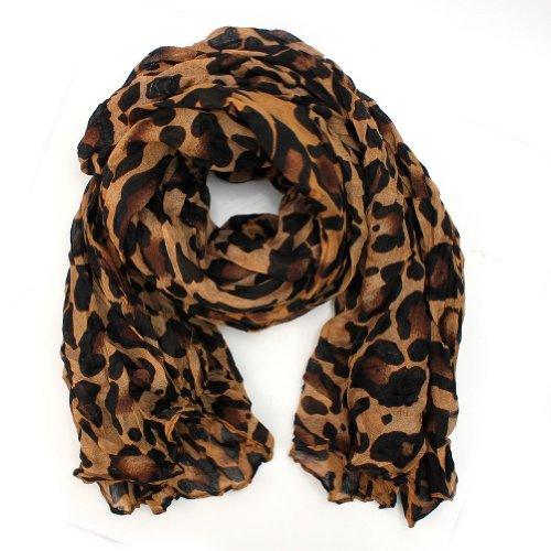Cotton Metallic Scarf - FuzzyGreen® Stylish Ladies Women Girl Cotton Printed Brown Leopard Metallic Pattern Soft Long Stole Loop Muffler Scarf Shawl +a pair of hair clips