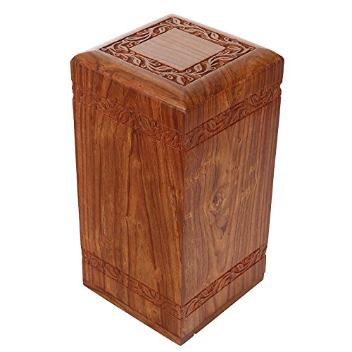 Solid Hand Carved Fine Natural Wood with Border Design - Adult (Large Wooden Urn)